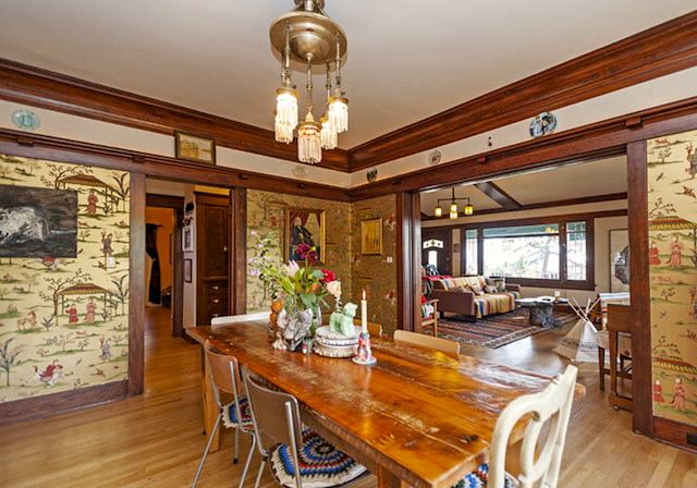 Dining room with vintage chandelier