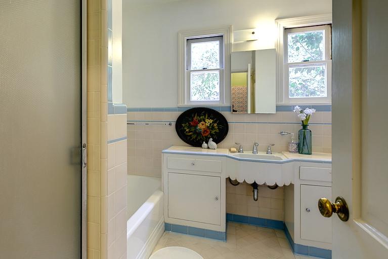 Vintage bath with built-in vanity