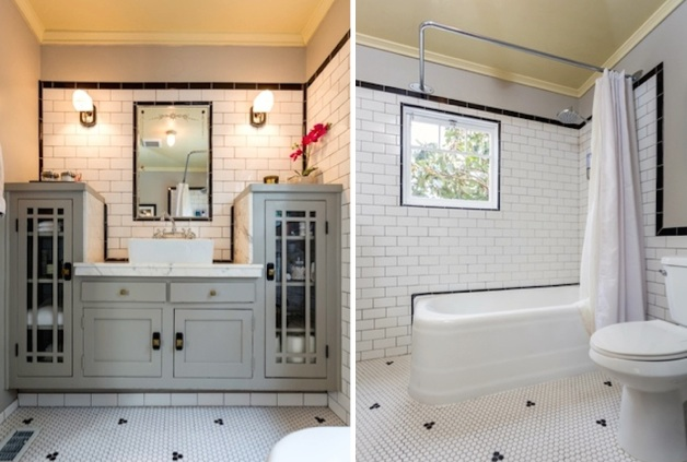 Gorgeous bath with hex tile flooring and built-in vanity