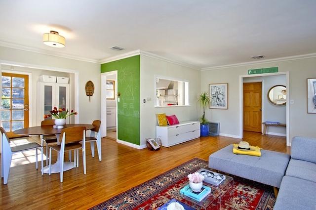 Airy floor plan with original wood floors