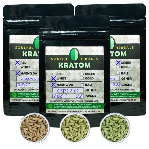 28 Count Kratom Capsules Sampler - White maeng Da, Red Maeng Da or Green Maeng Da