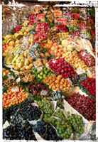 Abundance of fruit at a market