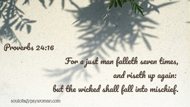 Proverbs 24:16 For a just man falleth seven times, and riseth up again: but the wicked shall fall into mischief.
