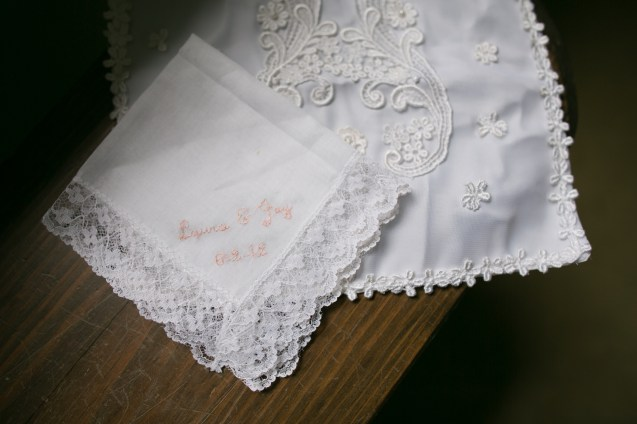 My mother's wedding handkerchief and James' mothers hankie, made from her wedding dress