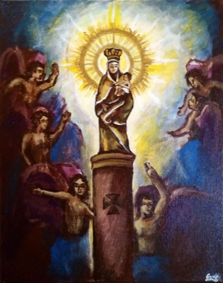 Nuestra Señora Del Pilar 11x14 inches acrylic on canvas