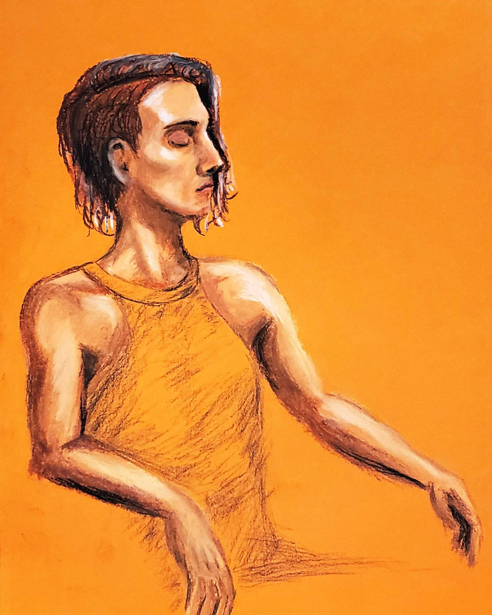 Profile of Woman in Orange
