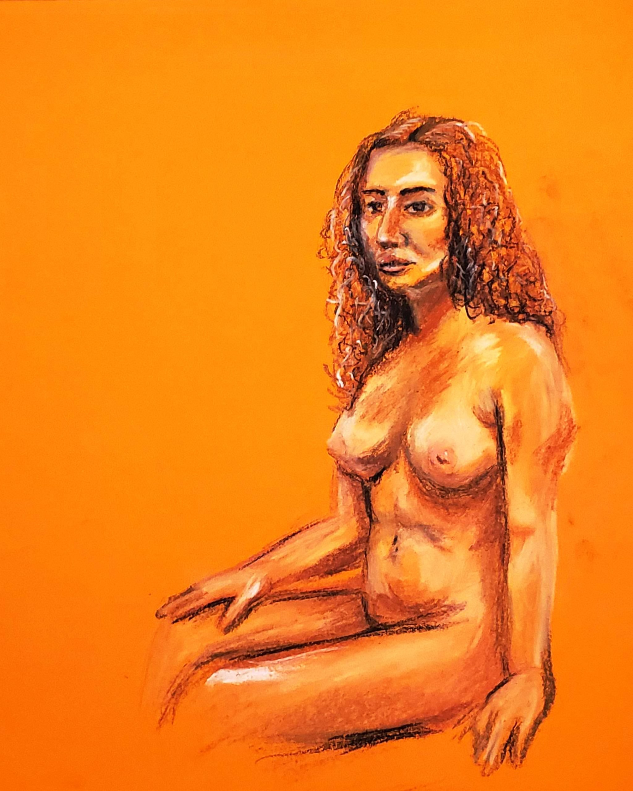 Portrait of Woman Sitting in Orange