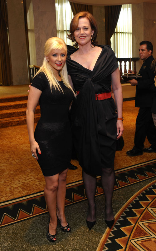 BEVERLY HILLS, CA - SEPTEMBER 24:  Singer Christina Aguilera (L) and actress Sigourney Weaver (R) attend Variety's 1st Annual Power of Women Luncheon at the Beverly Wilshire Hotel on September 24, 2009 in Beverly Hills, California.  (Photo by Stefanie Keenan/WireImage) *** Local Caption *** Christina Aguilera;Sigourney Weaver