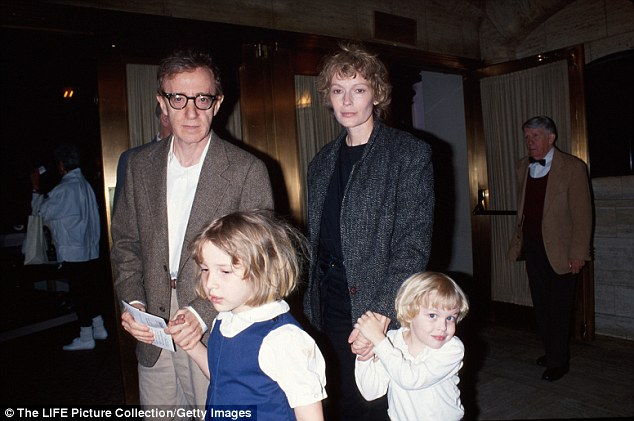 Woody Allen with Mia Farrow and the children - Dylan and Ronan