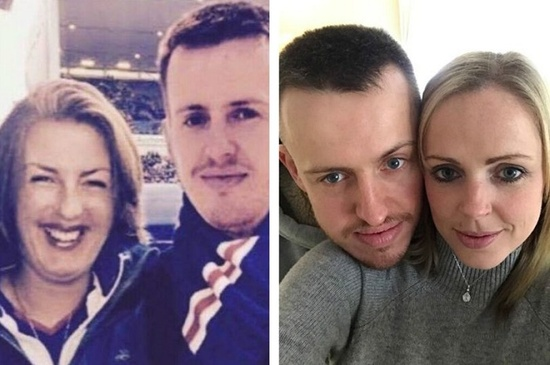 Left fake photo, right - Graham with his real girlfriend