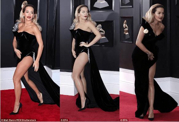 Рита Ора оконфузилась со слишком большим разрезом платья — фото