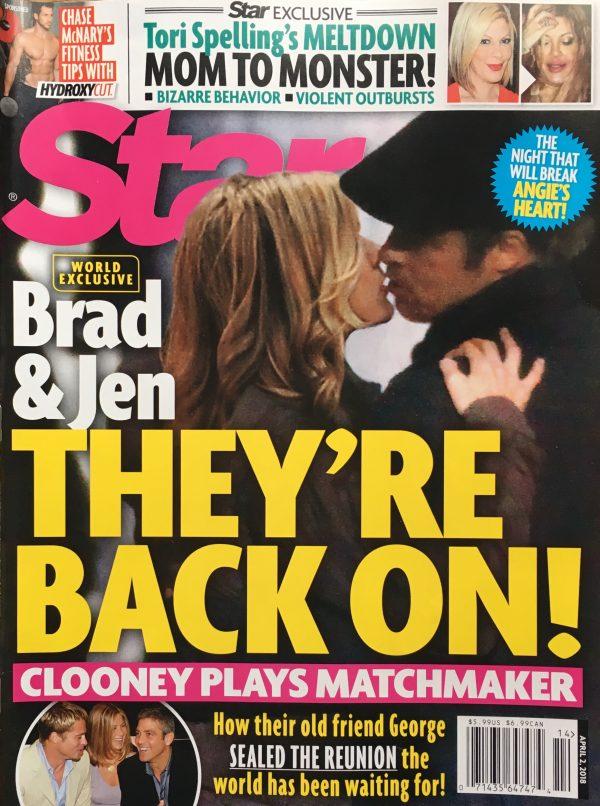 Целующиеся Энистон и Питт появились на обложке таблоида — фото
