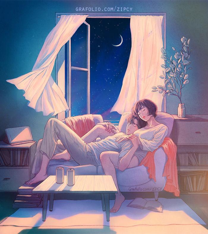 Корейский иллюстратор так хорошо изображает любовь и близость, что это можно почувствовать