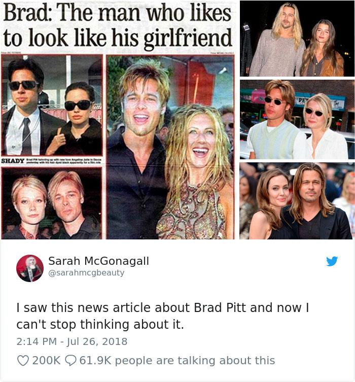 Брэд Питт всегда выглядит как женщина, с которой он встречается: поразительные ФОТО