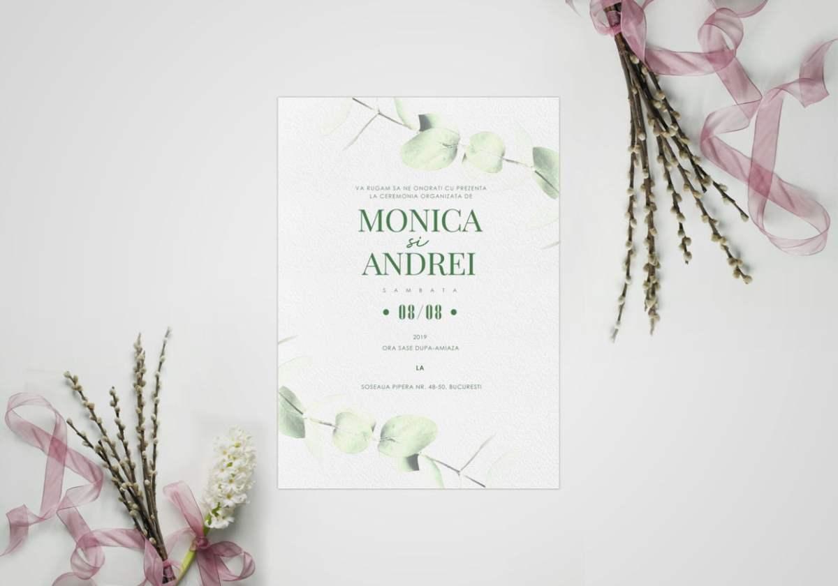 invitatie de nunta model eucalyptus