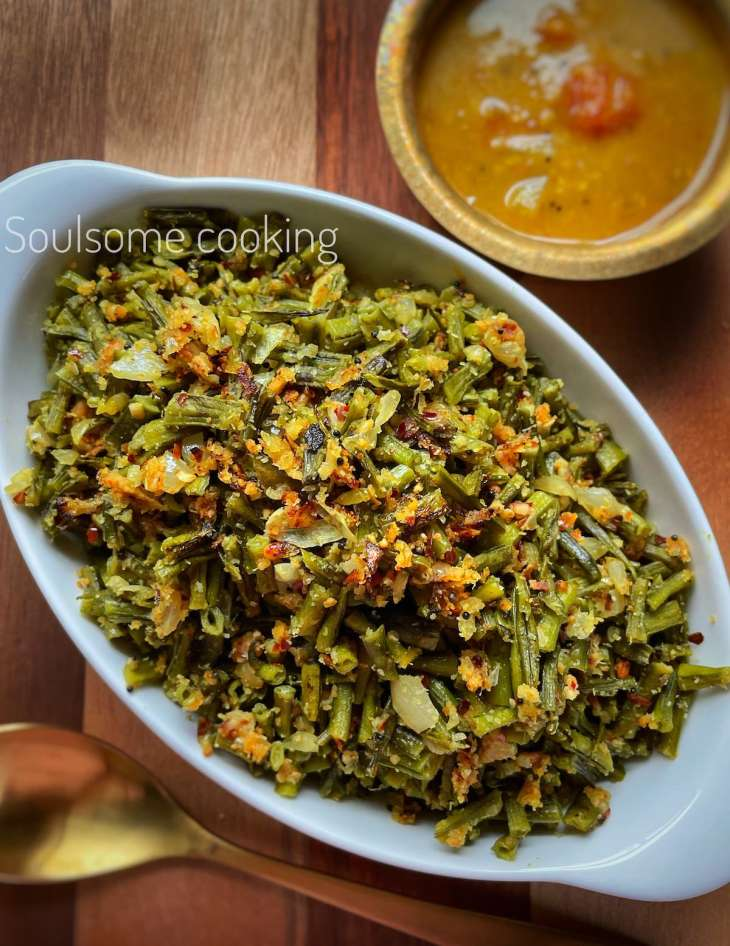 how to make Kothavarangai Poriyal cluster beans with peanuts Andhra style Tamil style. Gawar sabzi recipe.
