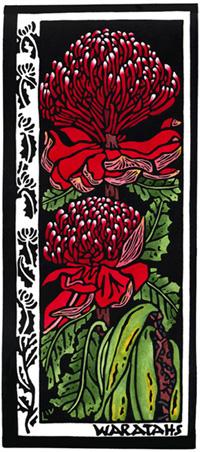 Australian Wildflower Card 1 - Waratah - Linocut