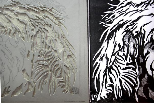 Relief print art studio diary soulsongart