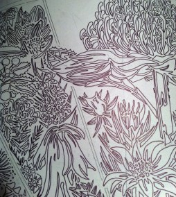 Design drawn onto the lino for carving