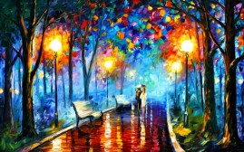 Lovers in the park by Leonid Afremov