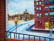 Title: Winter Wonderland (@ Helmond, Netherlands) Description: A nostalgic scenery from my dad's balcony in winter (Dutch Ambience) Material: Acrylic paint on canvas Artist: Wendy-lee Pinas Date: 5-30 March 2017 Category: Urban Motion, City, Winter, Ambience, Scenery Theme: Ambience, Seasons Technique: 3D with a washing sponge and a brush for details Framed: No Dimensions: Height 60 cm, Wide 80 cm, Depth 1 cm Weight: Light <2kg For Rent / Sale: No