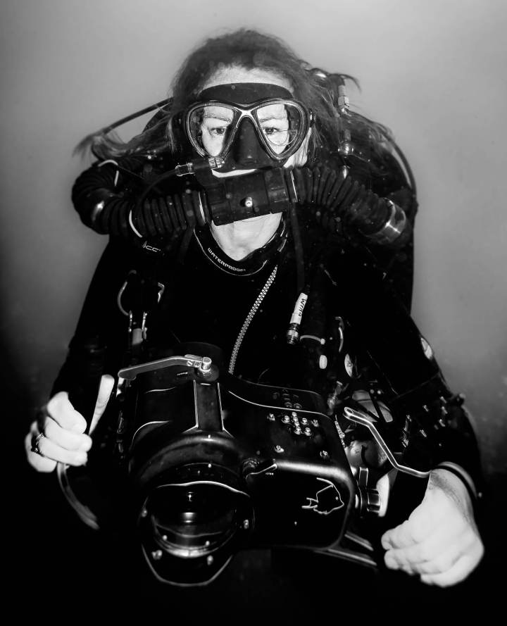 Adrienne filming on rebreather