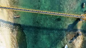 Yellow Bridge, Nusa Lembongan, Bali, Indonesia, drone, aerial, clear water