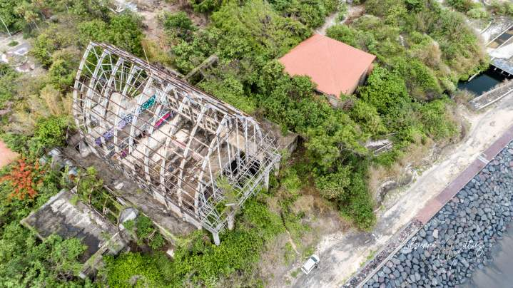 Taman Festival, abandoned theme park, Bali, Indonesia, drone, aerial