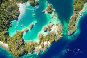 Painemo, Raja Ampat, Indonesia, drone, aerial, mushroom islands