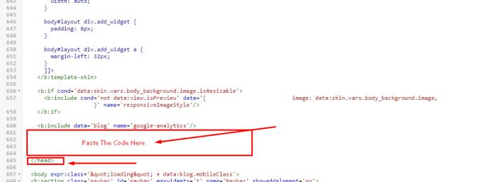 Blogger paste code Below header