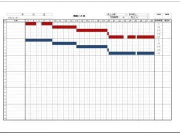 ガントチャート形式のシフト表