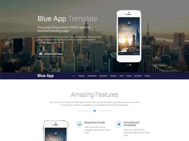 Blue App Responsive Landing Page Bootstrap Theme