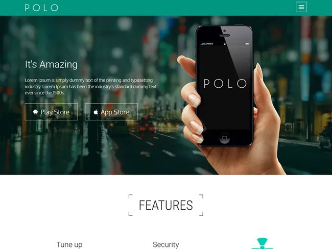 POLO – App Landing Page Template With Bootstrap