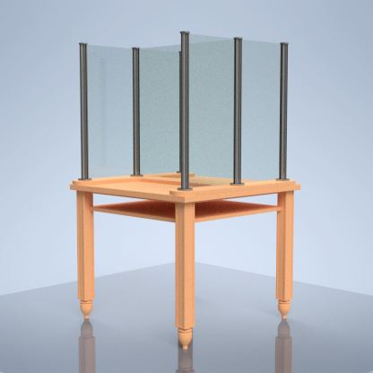 "plexiglass barrier on table ""H"""