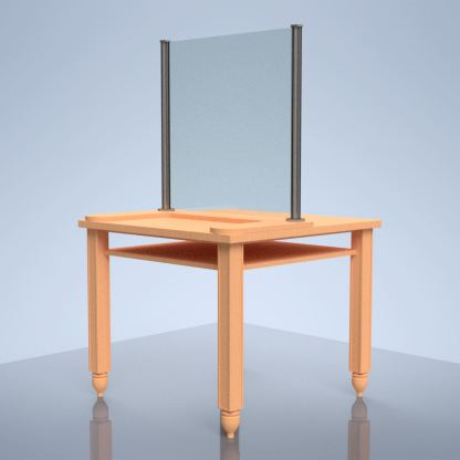 "glass desk shield ""I"" on table"
