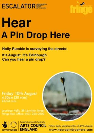 Hear a pin drop here flyer