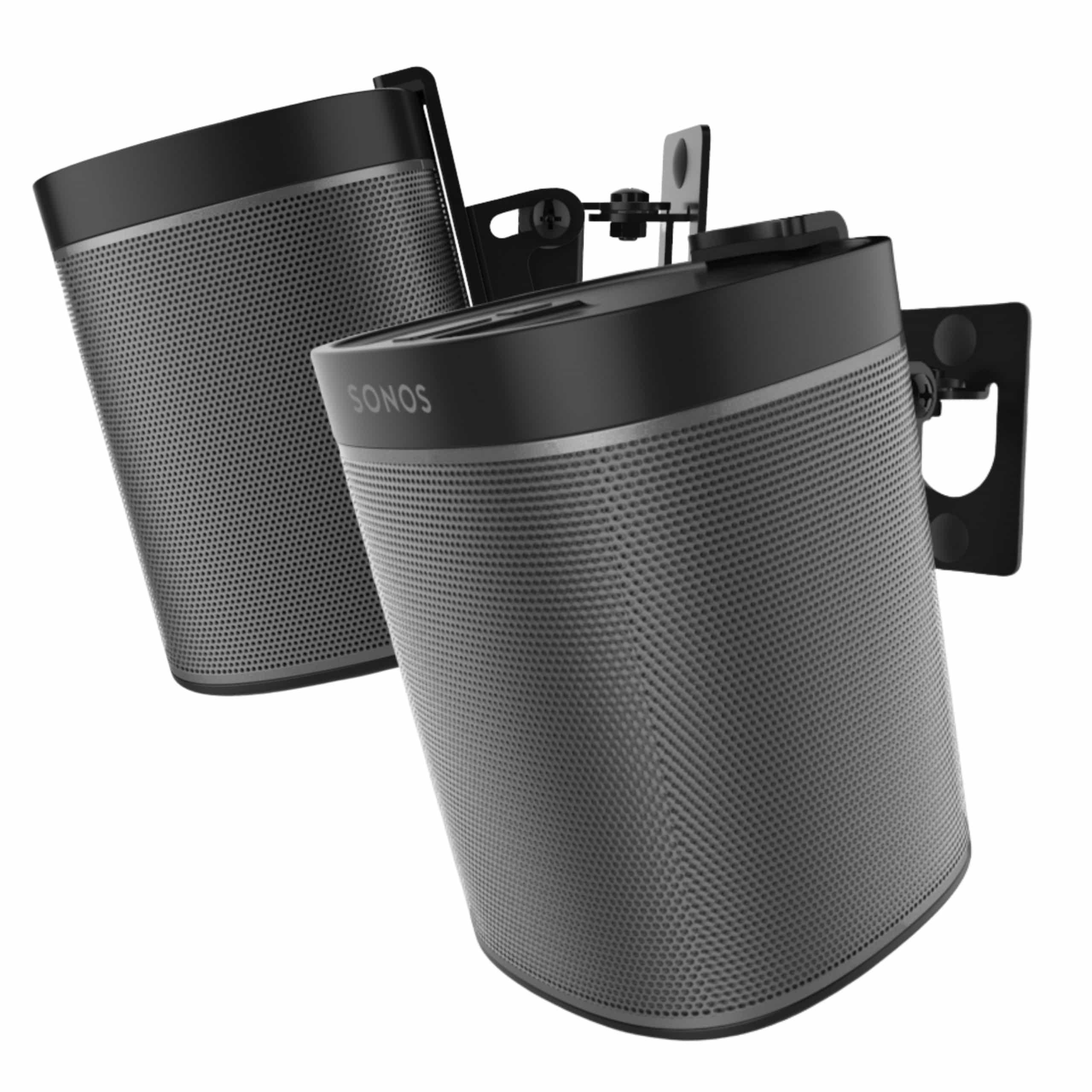 1 soporte para altavoces y 2 pares de soportes de montaje en caja de color negro y dise/ño de madera Sonos One SL Sonos Play 2 soportes para altavoces Sonos One