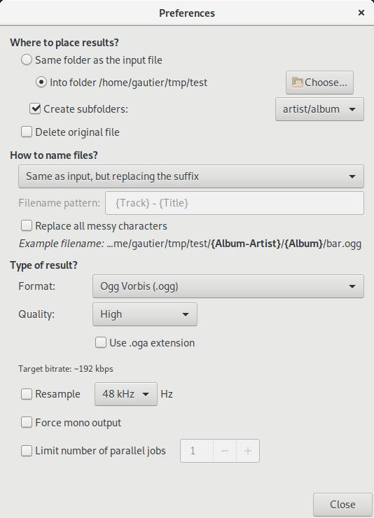 Preferences dialog screenshot