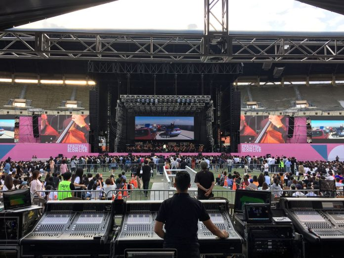 "Troy Choi mixing on a pair of DiGiCo SD7 desks for La La Land in Concert's performance at Jamsil Olympic Stadium (adjacent to a third SD7 for Hans Zimmer's set) during Seoul, South Korea's ""Slow Life Slow Live"" festival"