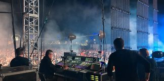 Vincent Mantz, Jean-Michel Jarre's longtime monitor engineer, at his DiGiCo SD7 monitor desk (FOH engineer Alain Courieux also had another SD7 out at FOH). Jarre was the headlining act on Friday at the Outdoor Theatre.