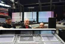 Artist monitor engineer James Berry, FOH engineer Stephen Curtin, and band monitor engineer Jimmy Corbin at the On The Run II tour's primary DiGiCo SD7 FOH mixing console