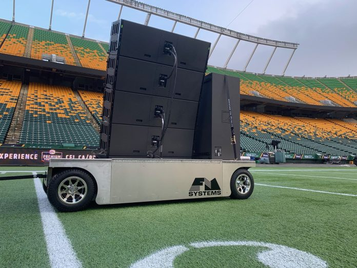 A close-up view of one of FM Systems' custom-fabricated K1/KS28 carts at Edmonton's Commonwealth StadiumA close-up view of one of FM Systems' custom-fabricated K1/KS28 carts at Edmonton's Commonwealth Stadium
