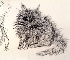 Hand drawing of what looks to be a cat.