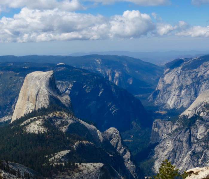 Half dome from above at Clouds Rest summit