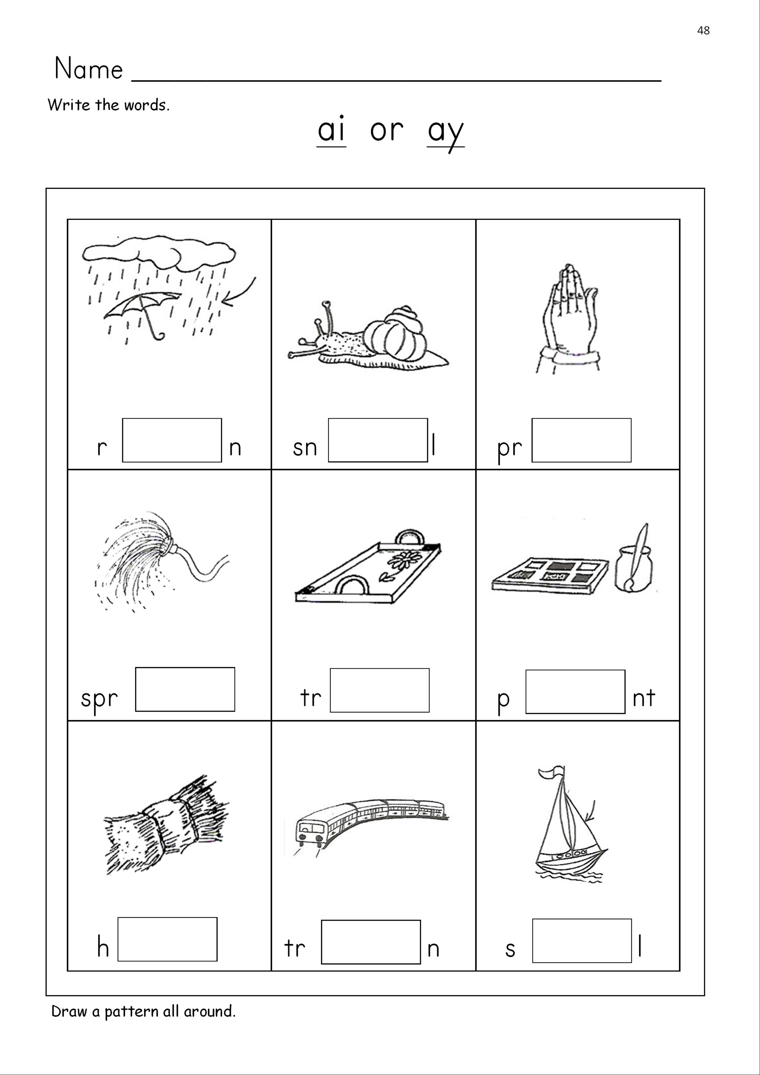 Ay Phonics Worksheets
