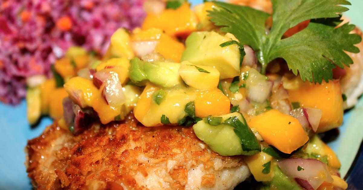 Macadamia Nut Crusted Halibut with Mango and Peach Chipotle Salsa