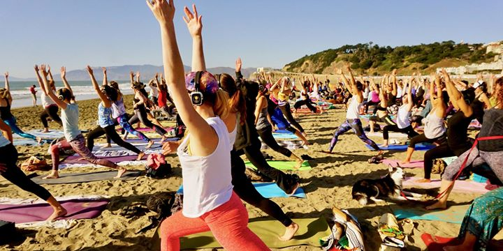 Silent Disco Beach Yoga