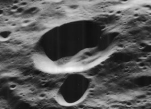 Oblique view of Feoktistov crater, on the far side of the moon, facing west.