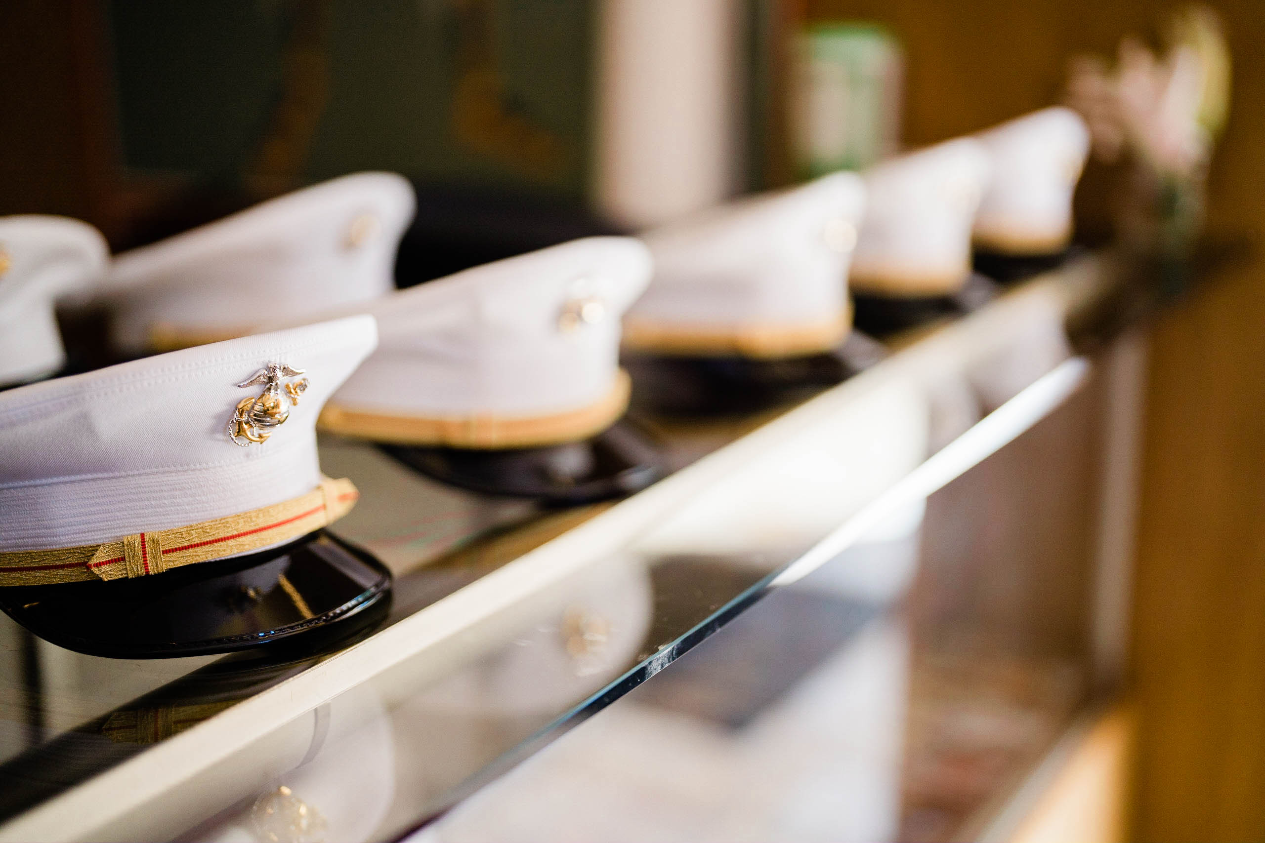 military hats at craven farm wedding in Snohomish