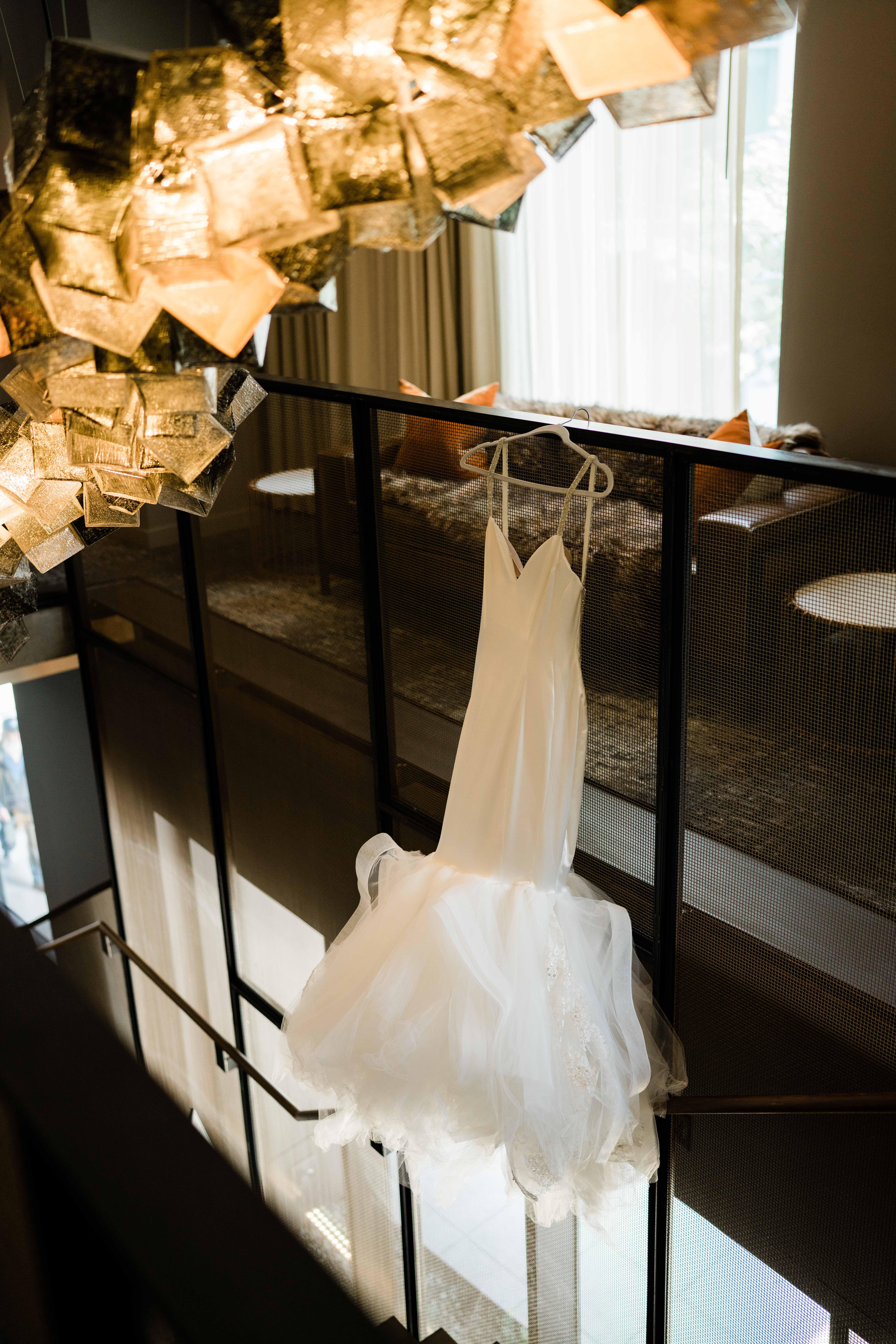 bridal dress hanging before mv skansonia we